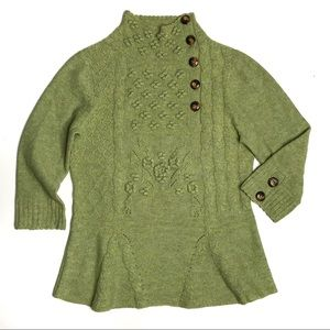 Anthropologie Moth Green Button Neck Wool Sweater